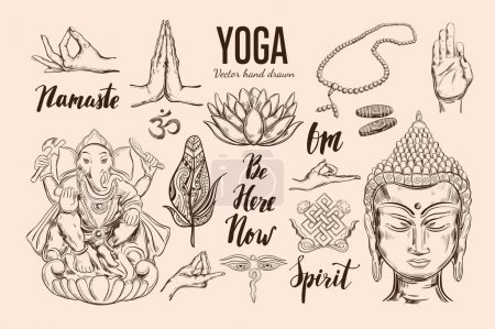 Illustration for Yoga set. Vector Isolated hand drawn objects. Spiritual Symbols of Buddhism, Hinduism. Tattoo design , yoga logo, boho print, poster. Inspirational calligraphy, lettering - Royalty Free Image