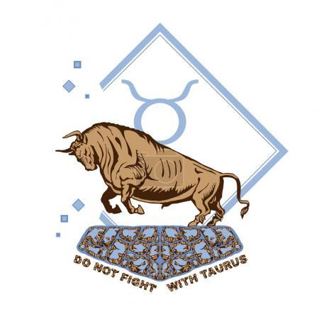 Illustration for Graphic symbol of the bull Taurus of the zodiac and the horoscope of the concept of vector art and illustration - Royalty Free Image