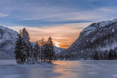 Island with trees in winter frozen lake Predil and  sunset