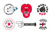 Vector set of flat cool vacancy job stamps tags Text ROCK STAR NEEDED WANTED WANTED and cartoon eyes