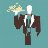 Silhouette of standing waiter holds a tray