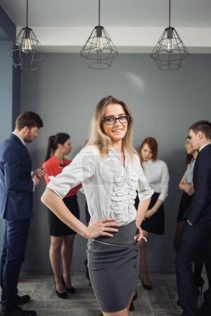 Beautiful businesswoman portrait. people of background