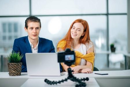 Blogger Startup New Business Man Woman Partners Camera Video Blog Concept