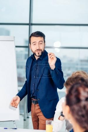 Successful business presentation of man at office