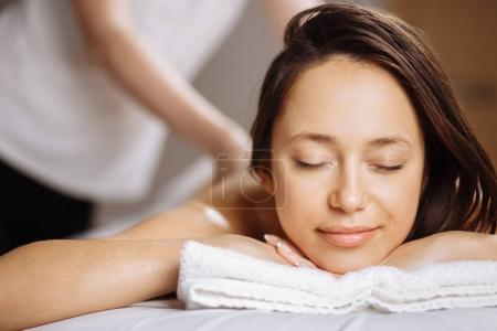 girl relaxes in the spa salon