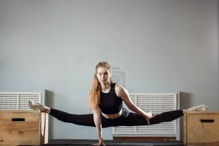 yogi woman practicing yoga concept, doing advanced Straight Angle exercise