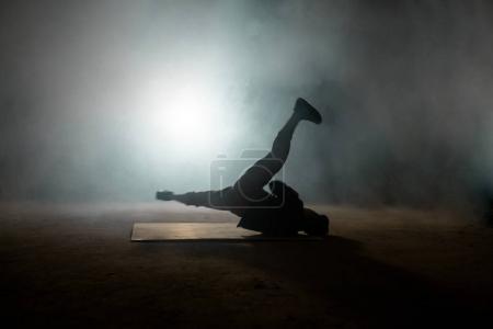 Handsome male dancer spinning on