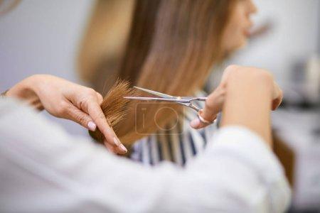 Photo pour Femme professionnelle moderne travaillant comme coiffeur et couper les pointes de cheveux d'une cliente dans un salon de beauté - image libre de droit
