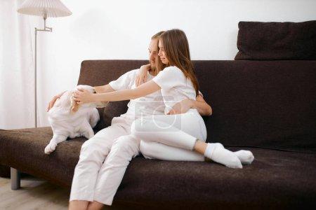 Photo pour Attention attentif couple caucasien, jeune et belle femme et homme caressant chien blanc sur canapé à la maison, chien sympathique avec les gens, ses propriétaires - image libre de droit