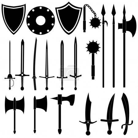 Large collection of medieval weapons
