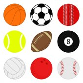 Sports balls vector set Cartoon ball icons Collection of colorful balls Flat style