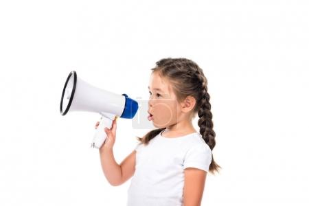 Photo for Little adorable kid holding megaphone, isolated on white - Royalty Free Image