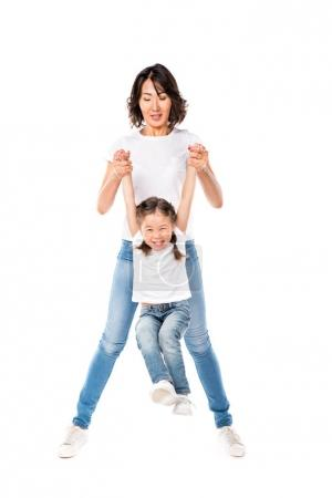 mother and her daughter having fun