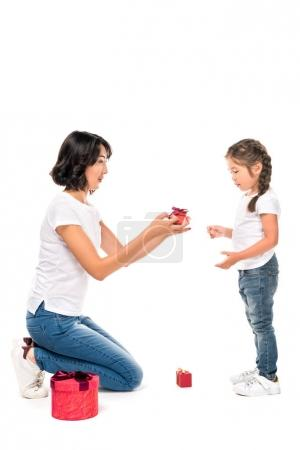 mother and daughter with gift boxes