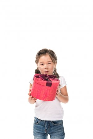 Child with gift boxes