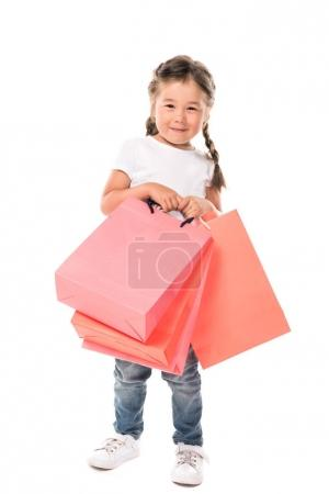 kid with shopping bags