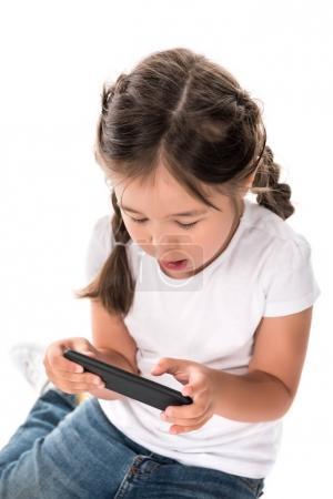 Photo pour Enfant asiatique chinois à l'aide de smartphone, isolé sur blanc - image libre de droit