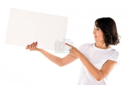 woman pointing at empty board