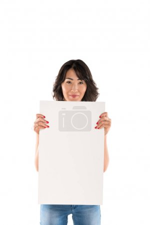 Photo for Attractive happy asian woman with empty board, isolated on white - Royalty Free Image
