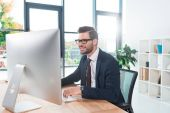 businessman working with desktop computer