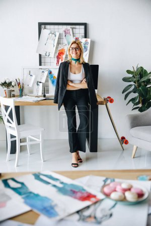 young fashion designer at workplace