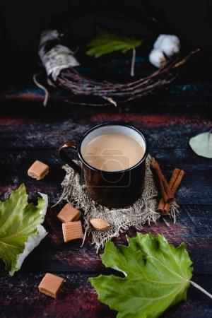 Hot milk tea masala in mug