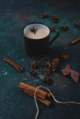 Hot milk tea masala with spices