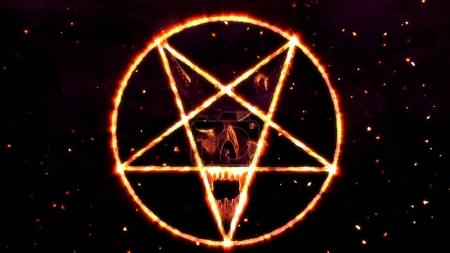 Inverted Pentagram Symbol with the Face of the Evi...