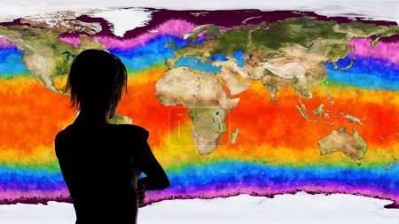 Woman Watching Earth Global Warming Simulation