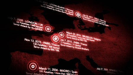 Map of Major Terrorist Attacks in Europe between 2000-2016