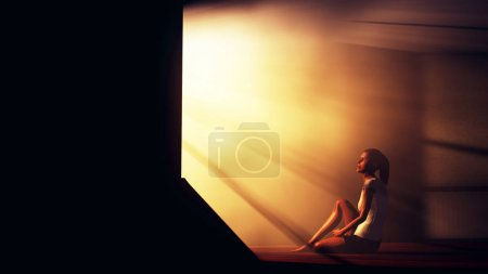 Lonely Woman in Melancholy Sitting in an Empty Room against Ligh