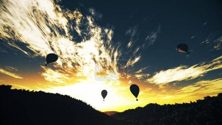 Hot Air Balloons over Lush Natural Wilderness Jungle in the Suns