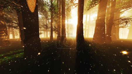 Mystic Fantasy Woods with Lightrays and Fireflies