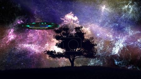 UFO behind Lonely Tree under Amazing Night Sky