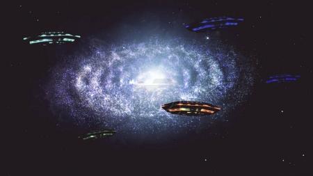Alien Spaceship Flying in Amazing Planetary Nebula Galaxy