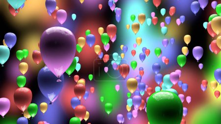 Colorful pastel balloons on blurred background