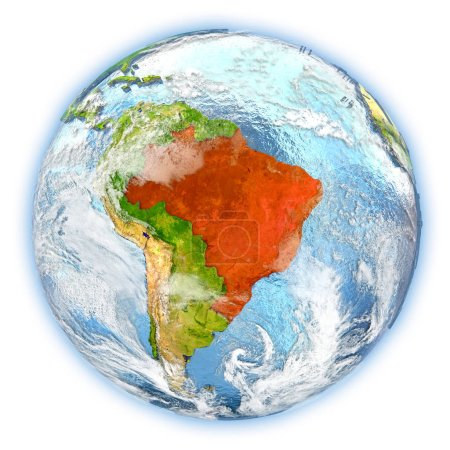 Brazil on Earth isolated
