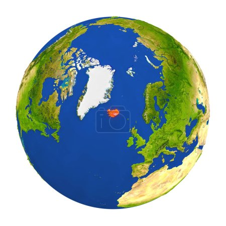 Iceland highlighted on Earth