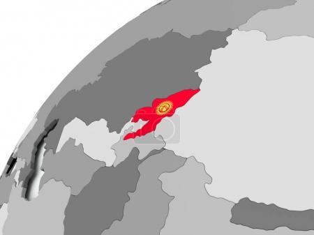 Flag of Kyrgyzstan on grey globe