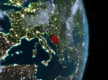 Night over Bosnia and Herzegovina on Earth