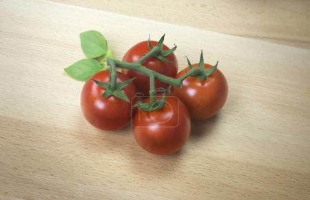 Photo for Fresh ripe red tomatoes on vine on wooden surface - Royalty Free Image