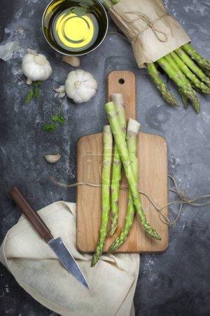 fresh green asparagus stalcks