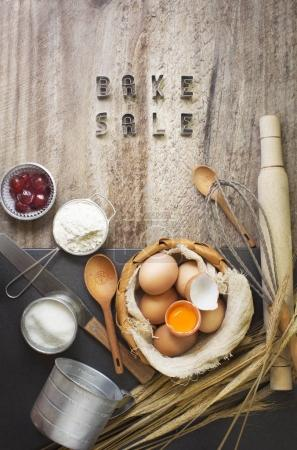 Photo for Ingredients and utensil for baking on wooden surface - Royalty Free Image