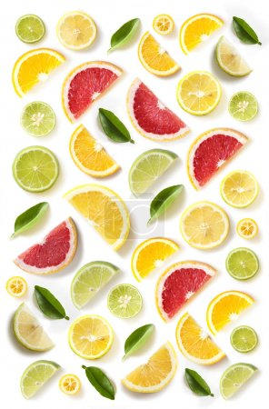 Photo for Pattern of fresh citrus fruits on white background with leaves - Royalty Free Image