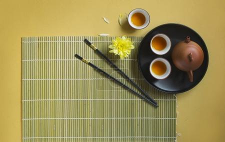 Photo for Top view of tea ceremony set on table - Royalty Free Image