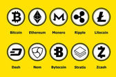 Cryptocurrency blockchain icons a yellow background Set virtual currencyVector trading signs: bitcoin ethereum monero ripple litecoindash nem bytecoin stratis zcash