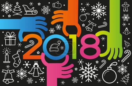Vector 2018 Happy New Year background.