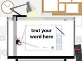 Architect and engineer working space for drawing process Vector illustration