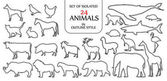 Set of isolated 24 animals illustration in double black outline