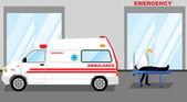 Jednoduché kreslené ilustrace muže vzala pohotovost s Ambulance